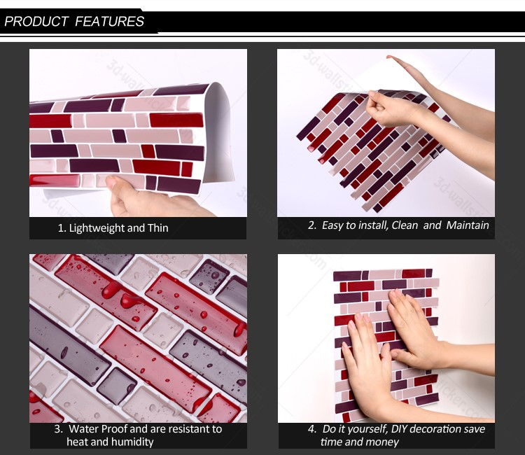 New arrival latest peel and stick easy mosaic decorative adhesive waterproof kitchen wall tile