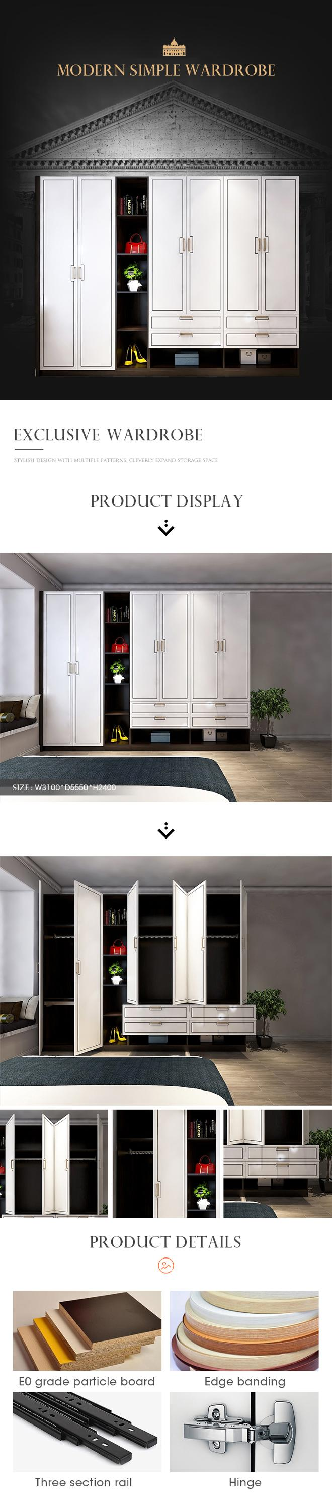 Foshan E0 Panel Bedroom Wall Wardrobe Design