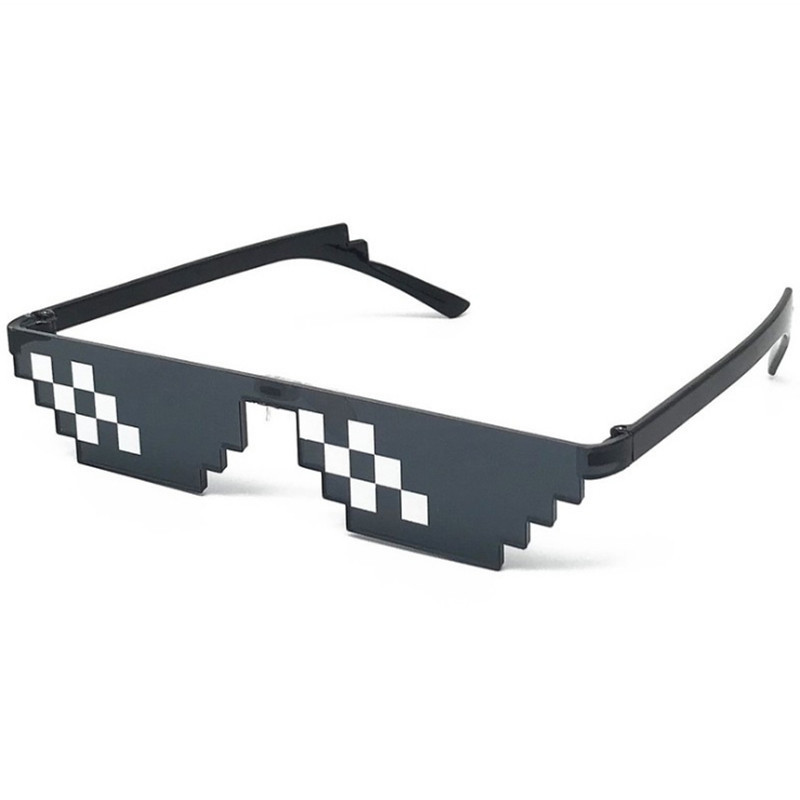 Childrens Boys Girls Pixelated CPU 8 Bit Gamer Geek Novelty Square Sunglasses