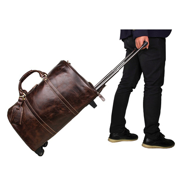 Maleta de cuero bolso de viaje marron con ruedas bolso