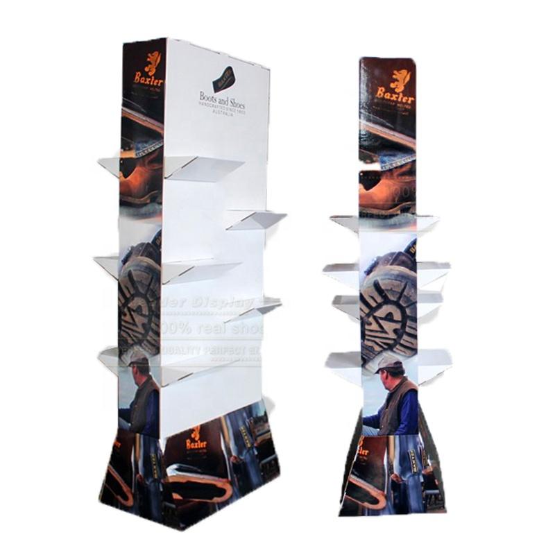 2-Side Cardboard Display For Shoes, Cardboard Shoes Floor Standing Display Box, Retail Shoes Floor Display