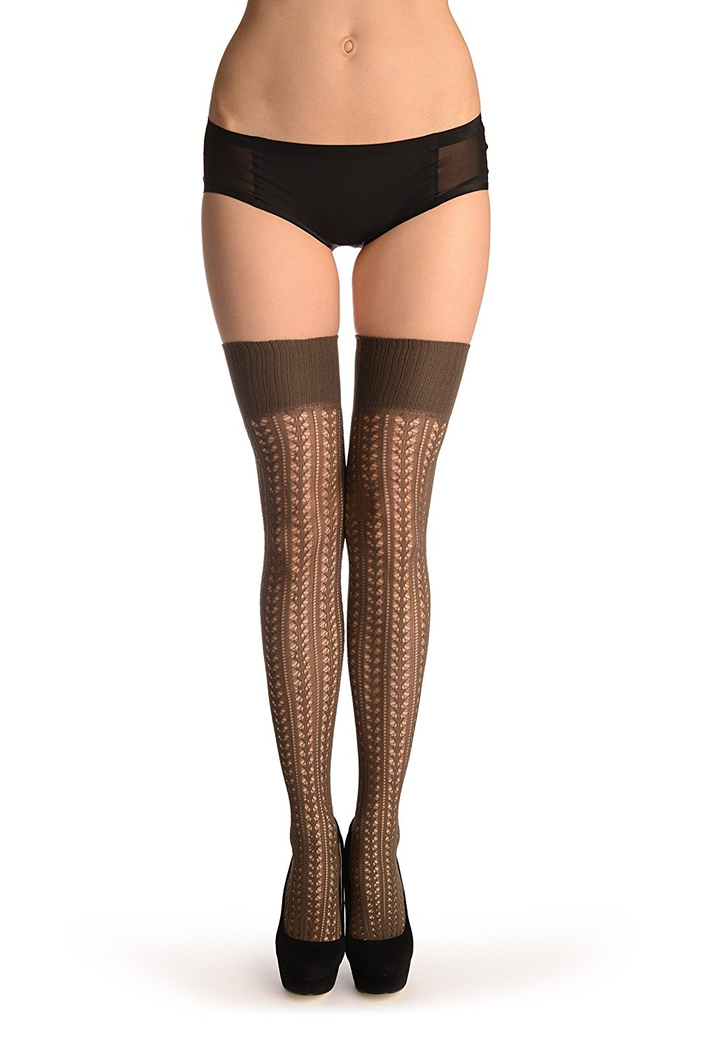 0dccec11a Get Quotations · Grey Burlesque Stripes Crochet Lace With Elasticated Top -  Stay - Up (Stockings)