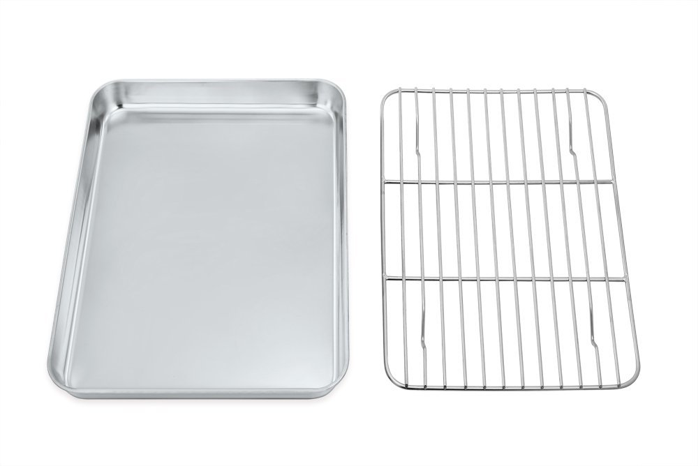 Toaster Oven Tray and Rack Set, P&P Chef Stainless Steel Broiler Baking Pan with Cooling Rack, Rectangle 8''x10''x1'', Non Toxic & Dishwasher Safe