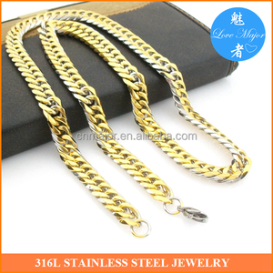 Fashion MEN's Stainless Steel Jewelry 10mm width Gold/Silver Italy Figaro Cuban Curb Link Chain Necklace