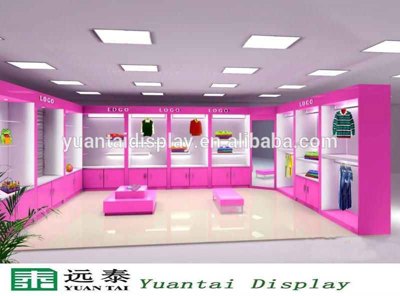Beautiful Wooden Clothes Furniture Showcase Garment Shop Interior Design