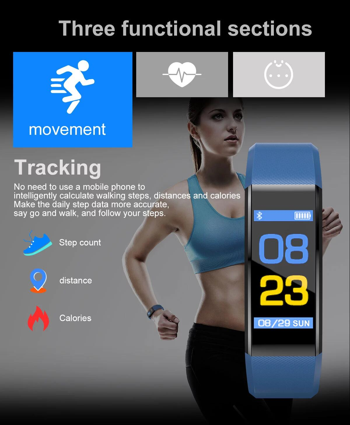 Hot sale support blood pressure heart rate for smart android mobile phone 115 plus smart watch bracelet