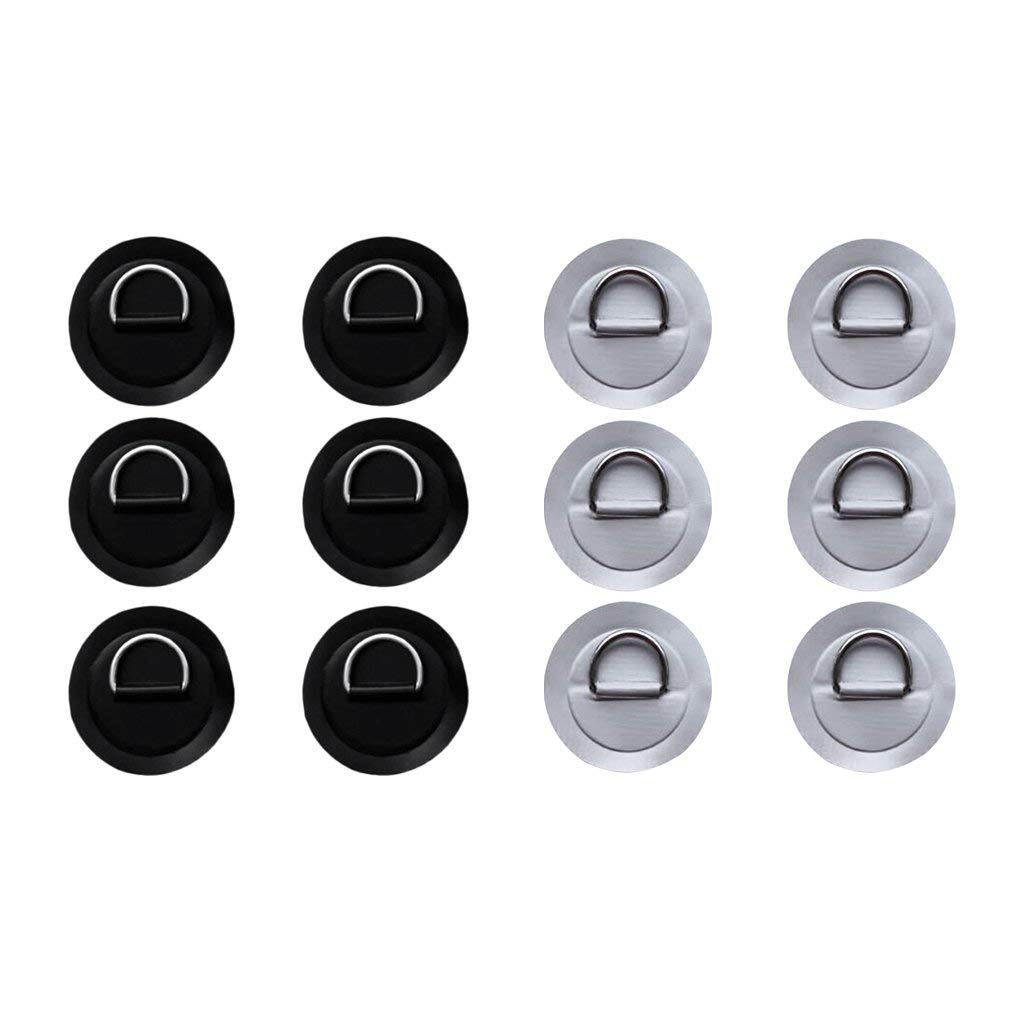 Homyl 12Pcs/set 3.15'' 316 Stainless Steel D Ring Pad/Patch for PVC Inflatable Boat Raft Dinghy Canoe Kayak Surfboard SUP