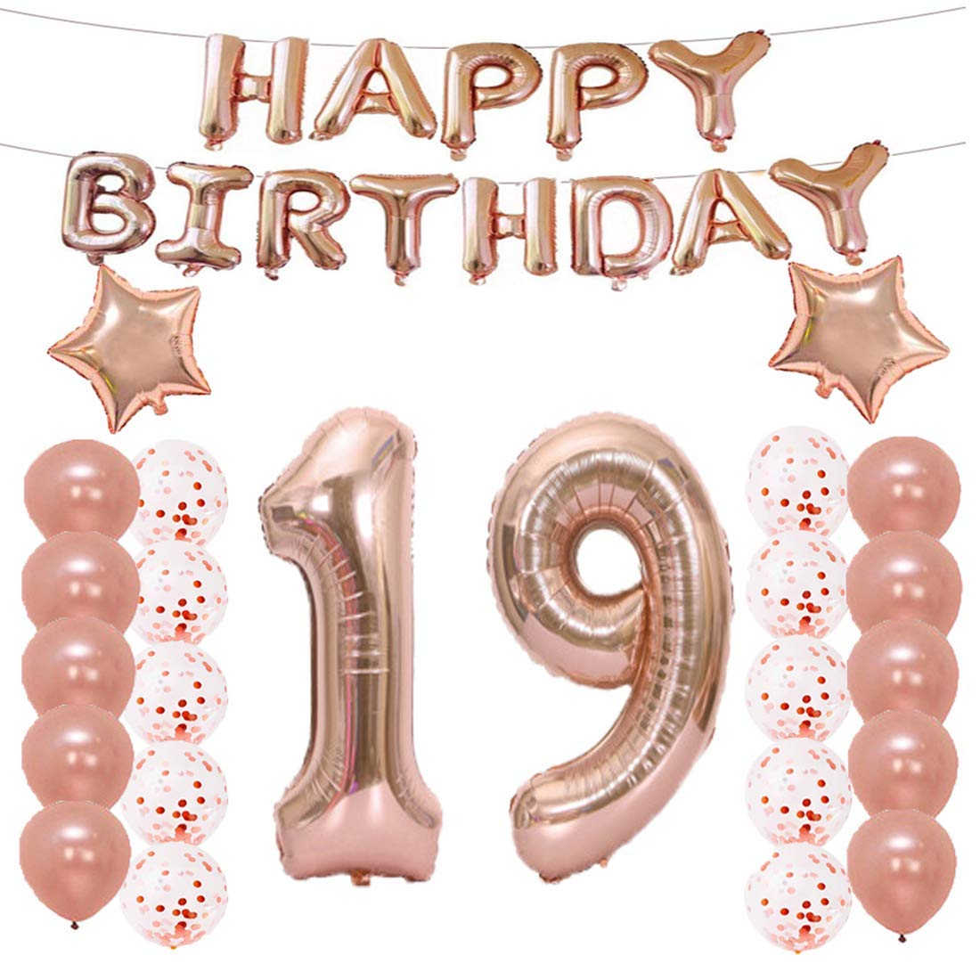 19th Birthday Decorations Party Supplies19th Balloons Rose GoldNumber 19 Mylar Balloon