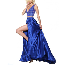 New fashion royal blue twee stukken kralen party wear lange sexy baljurk <span class=keywords><strong>prom</strong></span> dress <span class=keywords><strong>2019</strong></span>
