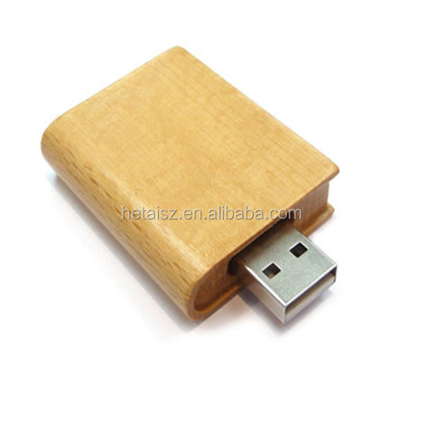 wood book shaped usb flash drive free logo printing