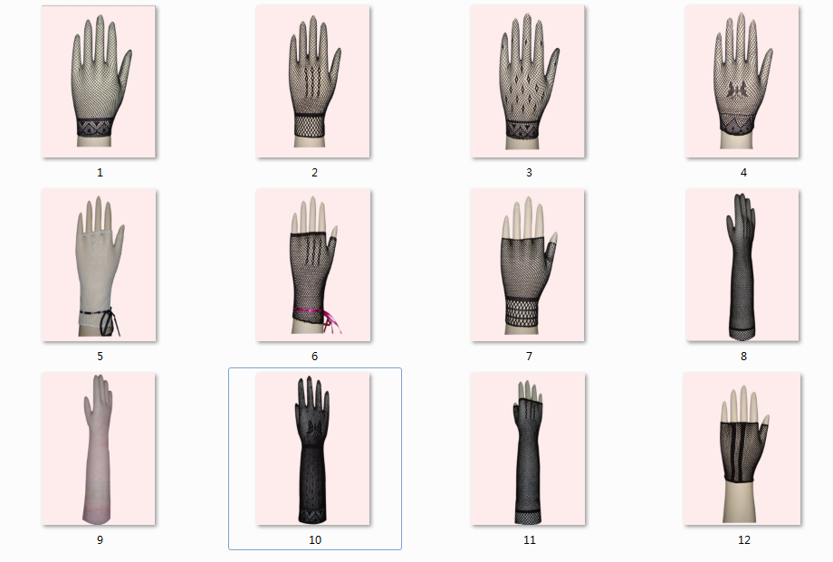 Women's Wrist Length Five finger Short mesh Gloves