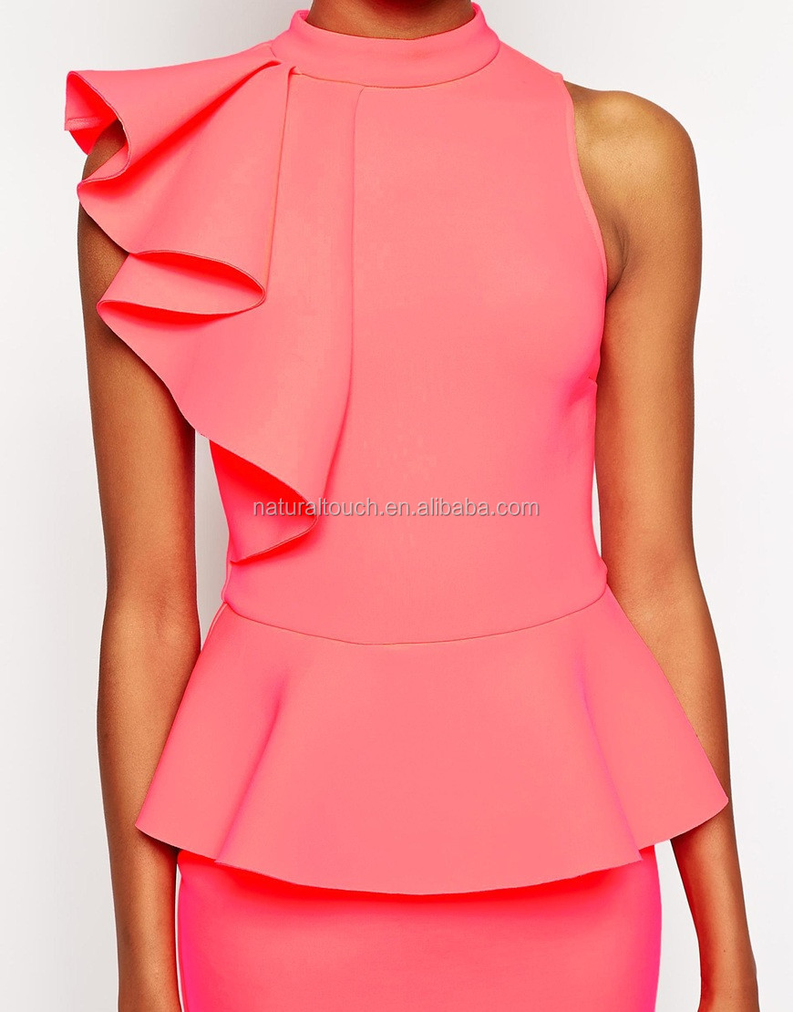 2015 New Ruffle Dress Casual Dresses Designs Ladies Office