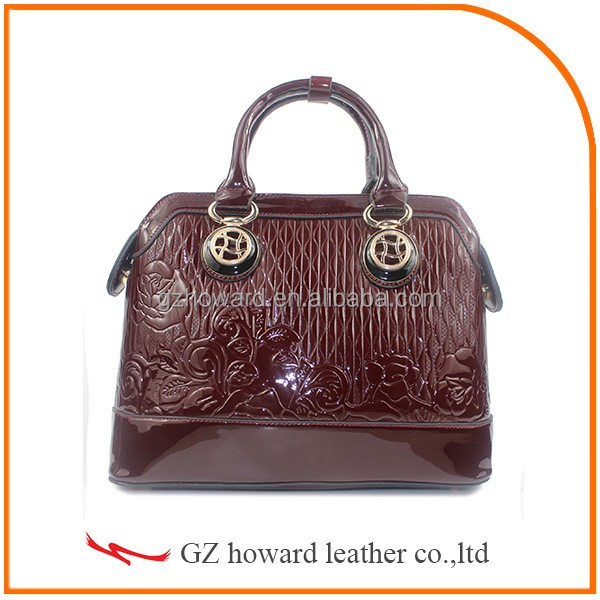 Fashion design patent pu leather handbag for lady