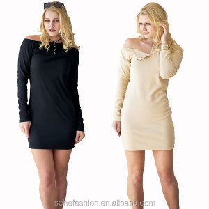 1202-MK19 Tight bodycon sexy lady short dress 2 colors One shoulder design for women