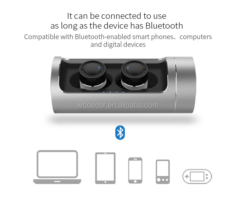 2018 New Design Waterproof Bluetooth Headset Metal Body with Smart Charger Portable Dual Wireless Bluetooth Earphone