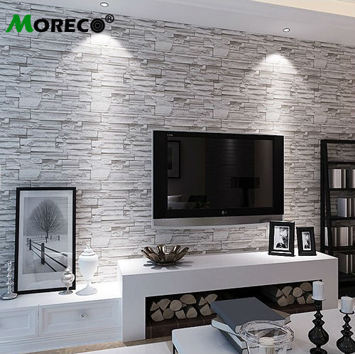Moreco 3d brick stone pattern modern style wallpaper home - Wallpaper design for living room price ...