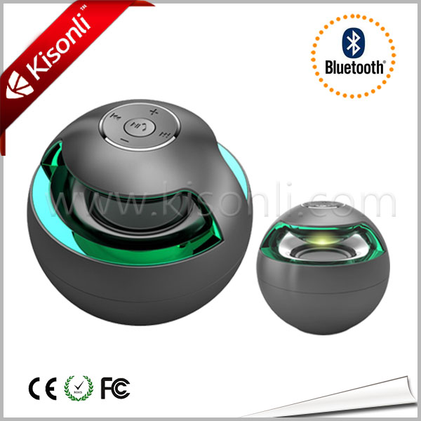 Colorful Classic Ball Shape Hands Free Built In Battery Portable Wireless Mini Car Speaker With Led Light