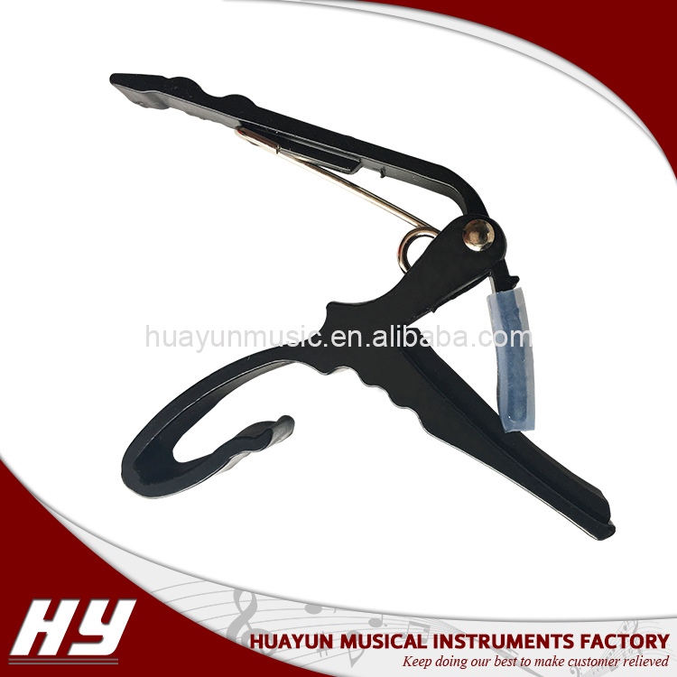 High quality metal black acoustic electric guitar bass key clamp ukulele guitar capo tuner
