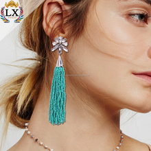 ELX-00582 cheap factory price bohemian bead tassel earring tassel earrings color for women