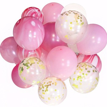 12 Inch 20 PCS Confetti Balloons Decorations Pink Set With Marble Balloon, Pink & Clear Latex Balloon Bouquet For Party