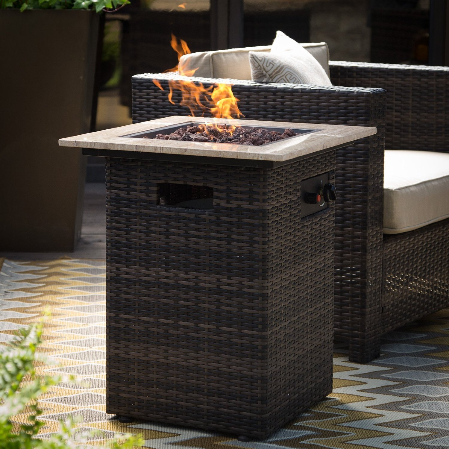 Patio Fire Pit,Steel Fire Pit,Red Ember Fire Pits Outdoor,Brown Square Pavani Fire Column