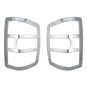 Plastic Triple Chrome Plated Taillight Trim Bezel Cover for 2014-2017 Chevy Silverado 1500 Chevrolet 2500HD 3500HD