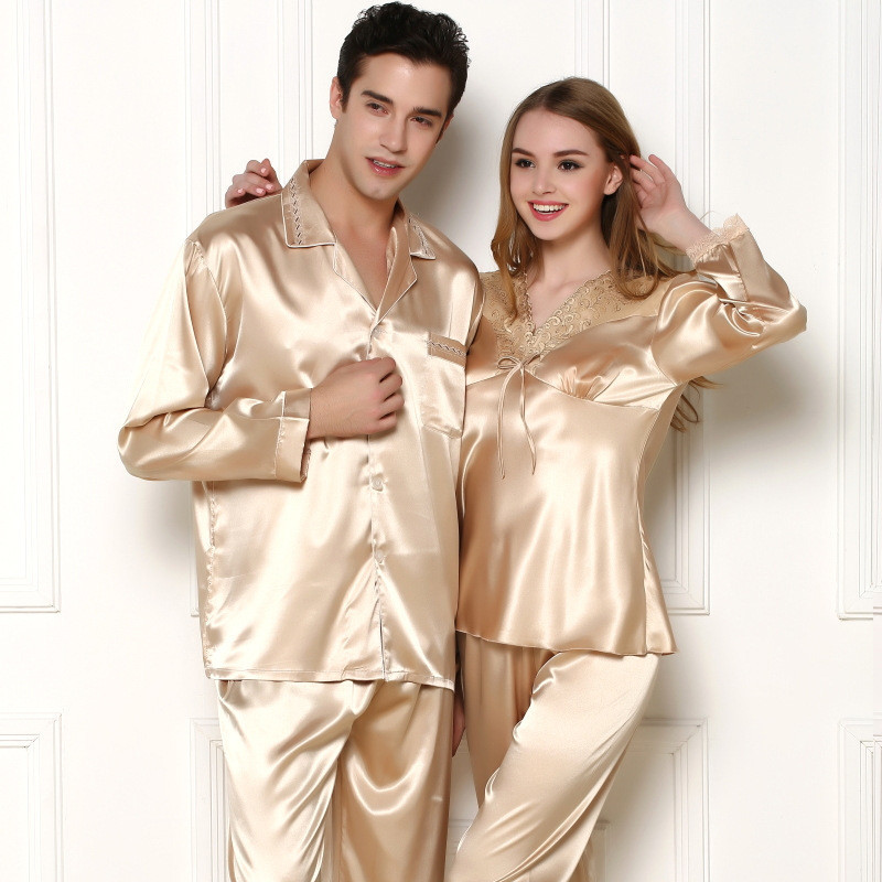 Satin Pajamas Womens Pajamas for Spring Autumn Leisure Homewear ladies Silk  Pajamas Set Satin pyjamas Lover 19c29224a