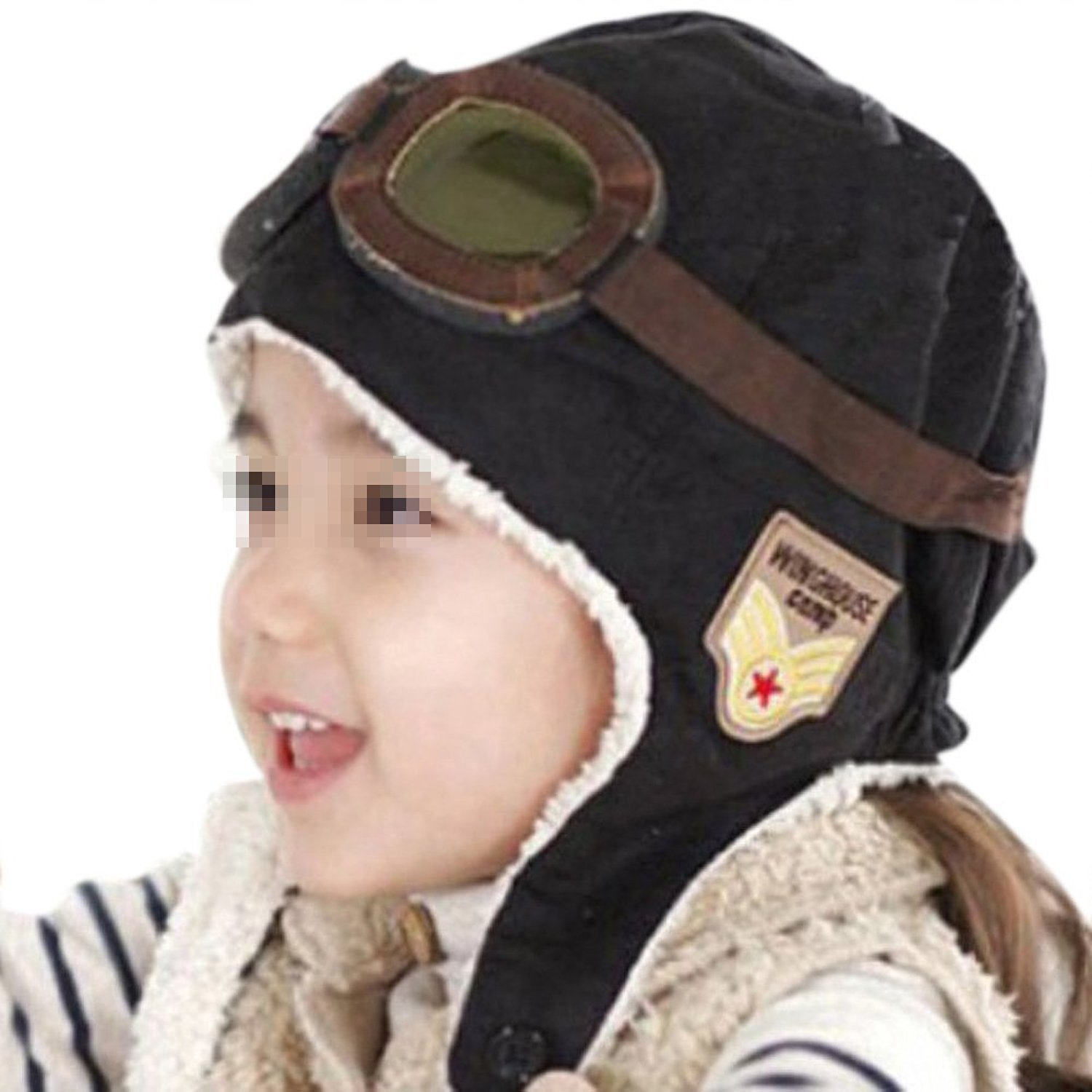 9ca762b36b4 Get Quotations · Ewandastore Unisex Baby Kids  Pilot Aviator Fleece Warm  Hat Cap with Earmuffs(Black)