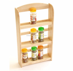 wall hanging 3 tier wooden salt and pepper spice rack organizers