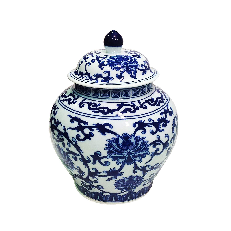 Large Blue and White Porcelain Tea Storage Helmet-shaped Temple Jar