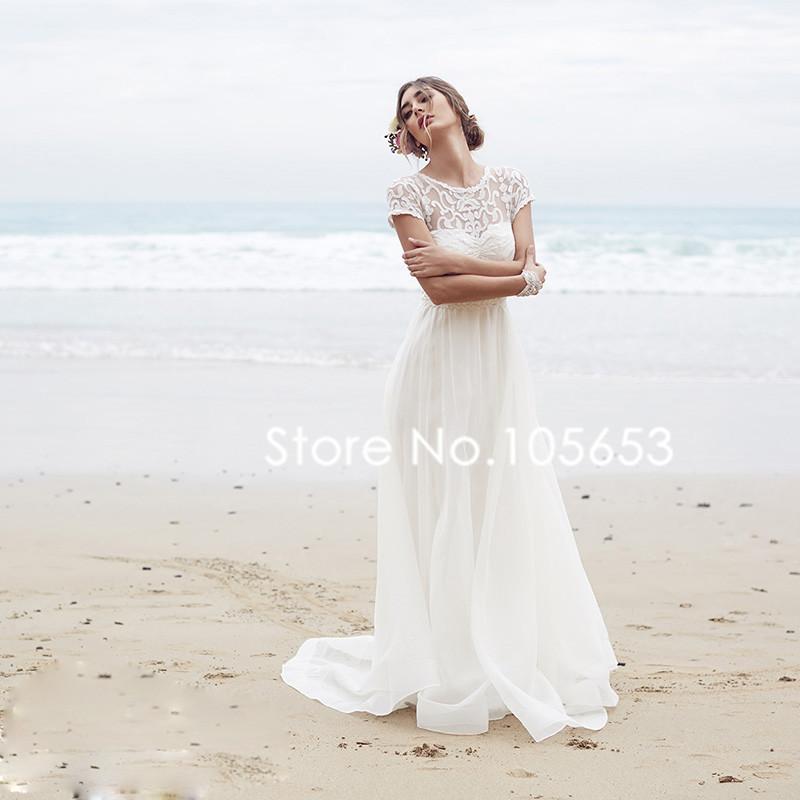 Short Sleeves Long Lace Beach Wedding Dress Simple Boho ...