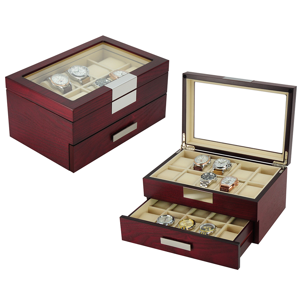 20 Grids Cherry OAK Veneer Watch Box Packing