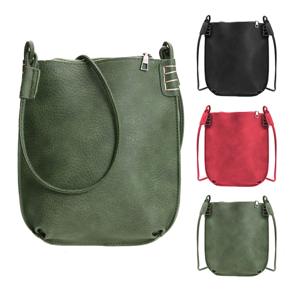 8145d498841 2016 New Fasion Women PU Leather Leisure Ladies Crossbody Bag Retro Shoulder  Bag Black Red  Green About color  1.All product images were taken in kind.