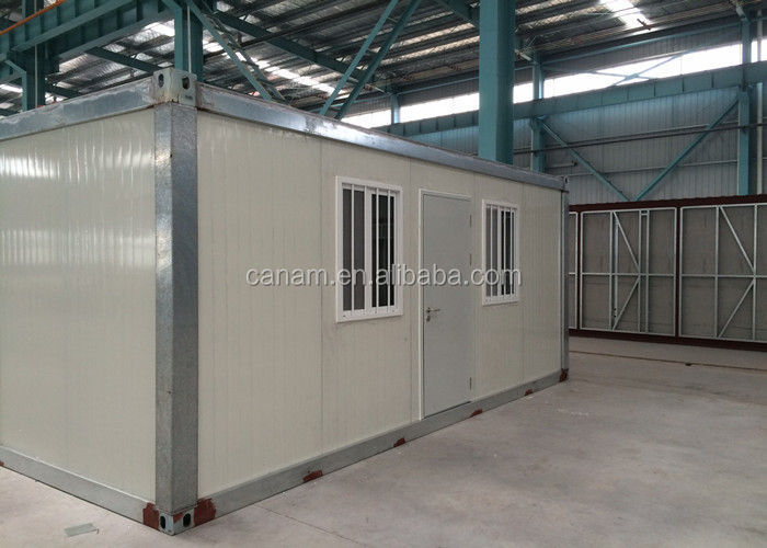 Small moving modified shipping containers homes with pillars and two windows