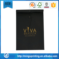 Envelope Type Kraft Paper Bag Gold Foil Logo Black Kraft Paper Bag
