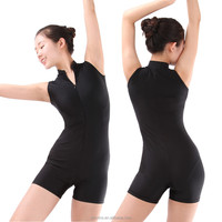 Ladies Shiny Lycra Zipper Front Turtle Neck Sleeveless Ballet Dance Shorty Unitards