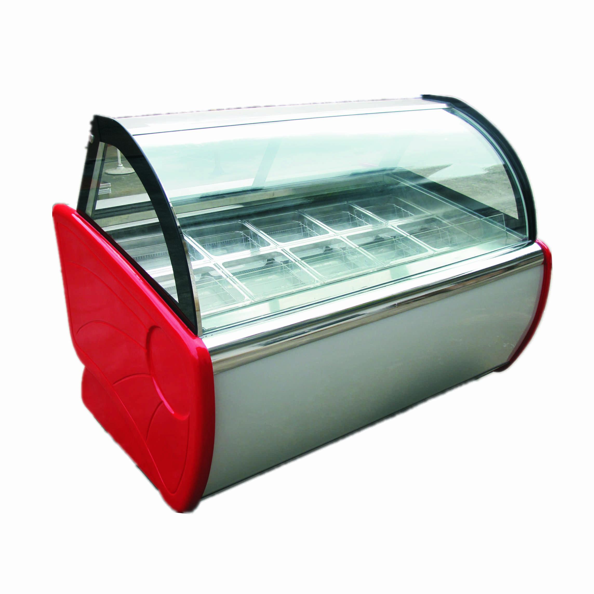 20 plates 304 material Curved Sliding Glass Door Italy Gelato Hard Ice Cream Showcase Refrigerator Display Cooler