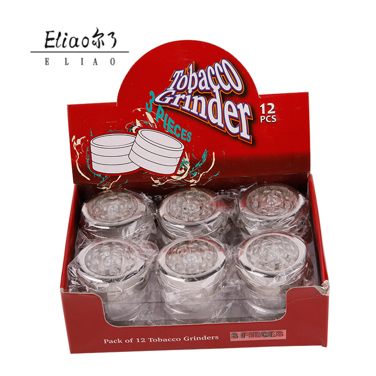 Erliao Hot Selling Silver Skylight Crusher 3 Layers Metal Herb Tobacco Herb Grinder Pollen Hand Muller Zinc Alloy Grinder