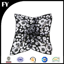 Custom digital printed 100 natural silk chiffon neck square scarf