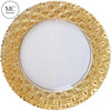Cheap Gold Embossed Pattern Glass Charger Plate Colorful