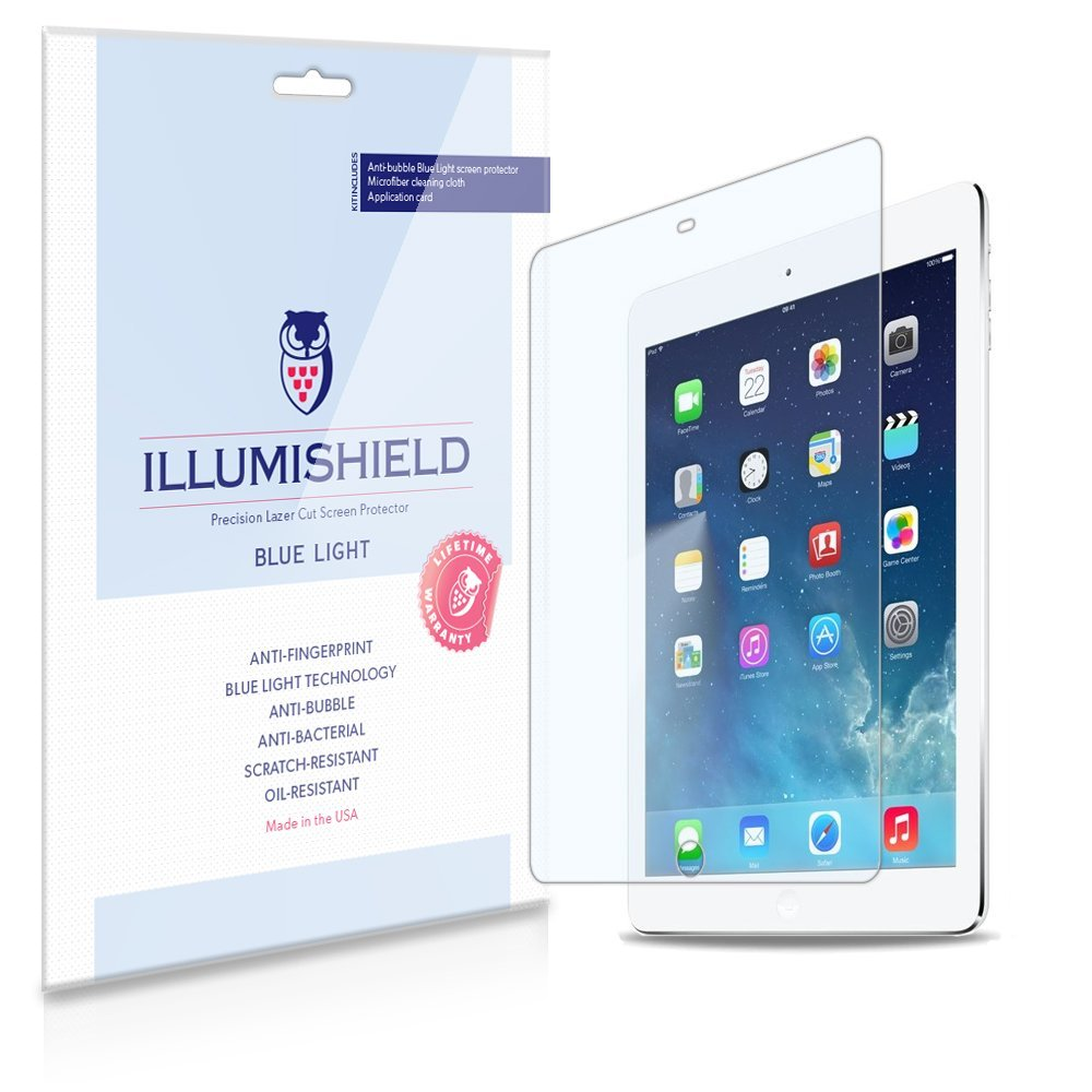 iLLumiShield – Apple iPad Air (5th Gen) (HD) Blue Light UV Filter Screen Protector Premium High Definition Clear Film / Reduces Eye Fatigue and Eye Strain – Anti- Fingerprint / Anti-Bubble / Anti-Bacterial Shield - Comes With Free LifeTime Replacement Warranty – [1-Pack] Retail Packaging