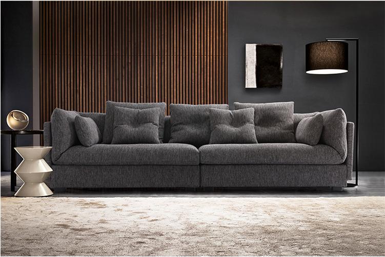 Italienisch moderne schlichte design grau stoff sofa for Sofa italienisch