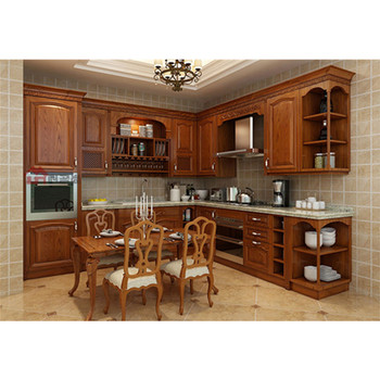 High Quality Best Price Solid Wood Natural Wooden Kitchen Cabinet Armoire  De Cuisine