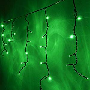 ledwholesalers 164 ft 120 led icicle christmas holiday lights with dark green wire