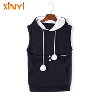 Lovely Sleeveless Hoodies Sweatshirts With Big Kangaroo Pocket For Your Pet