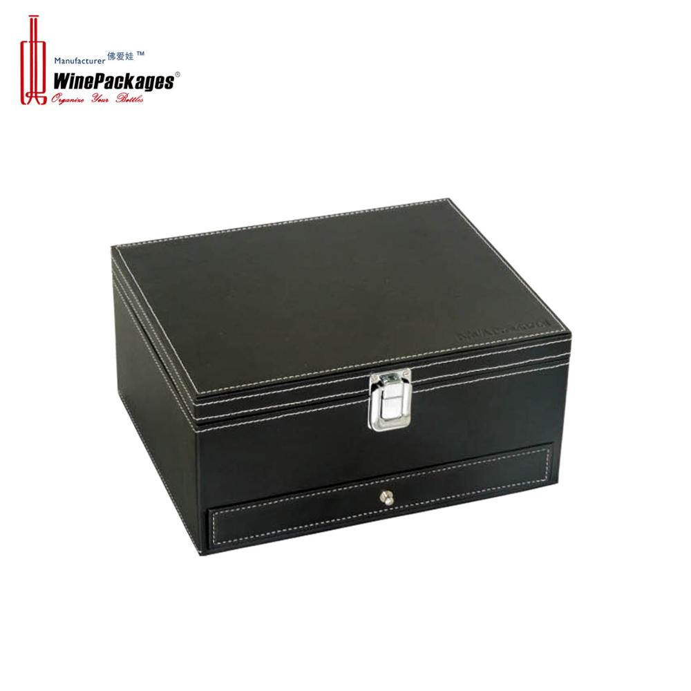 Elegant PU leather wholesale wine accessories set box with wooden wine box with accessories