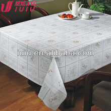 Vinyl lace table cloth, pvc lace tablecloth, table protector