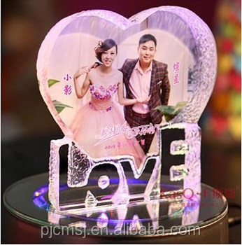 Wedding Gift Crystal Photo Frame Love Shape Personal Customize - Buy ...