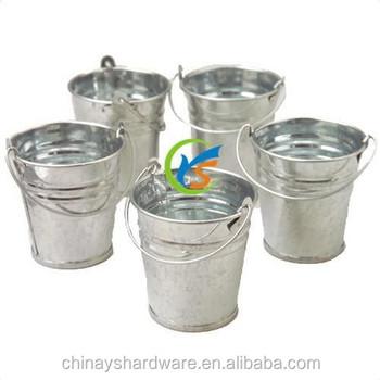 Portable nature galvanized metal mini bucket wholesale for Galvanized metal buckets small
