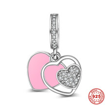 Sweet Pink Heart Dangle Charm 925 Sterling Silver DIY Bead Charms For European Charm Bracelets and Necklaces Wholesale
